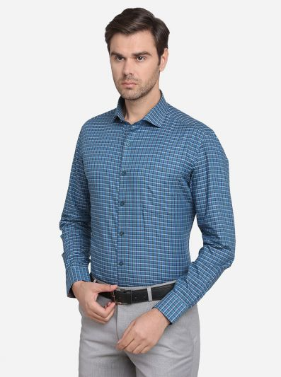 Teal Blue & Grey Checked Slim Fit Formal Shirt | JadeBlue
