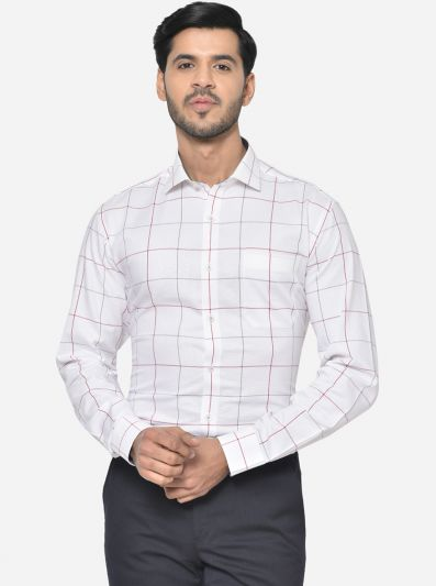 Snow White Checked Slim Fit Formal Shirt | JadeBlue