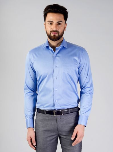 Marine Blue Solid Slim Fit Evening Wear Shirt | Metal