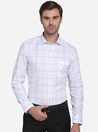 White & Blue Checked Slim Fit Formal Shirt | JadeBlue