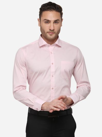 Pink Solid Slim Fit Formal Shirt | Metal