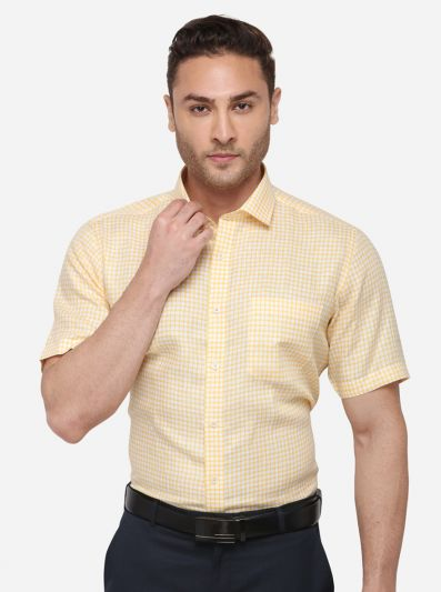Yellow Striped Regular Fit Formal Shirt | JadeBlue