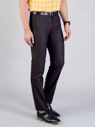 Dark Brown Self Design Slim Fit Formal Trouser | Greenfibre