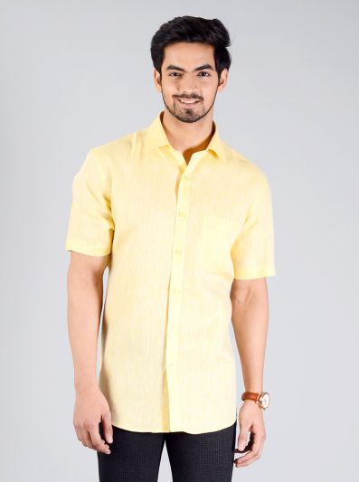 Light Yellow Self Design Regular Fit Formal Shirt | JadeBlue