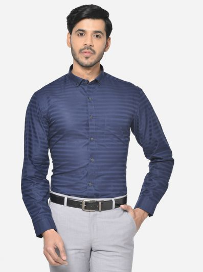 Navy Blue Striped Slim Fit Party Wear Shirt | Greenfibre