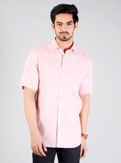 Light Pink Self Design Regular Fit Formal Shirt | JadeBlue