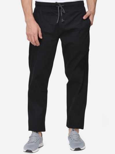 Black Solid Regular Fit Paijama | JadeBlue