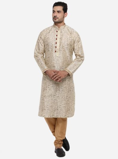 Beige & Golden Kurta Set | Azania