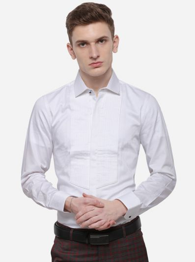 White Solid Slim Fit Party Wear Shirt | JB Studio