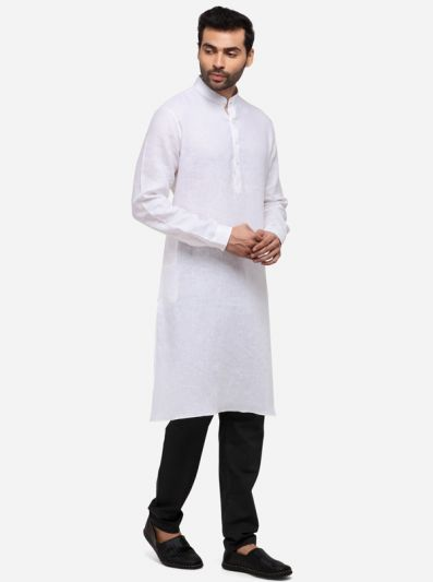 White Solid Regular Fit Modi Kurta | JadeBlue