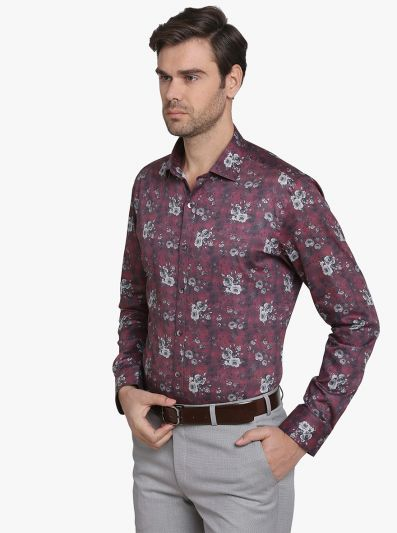 Crush Red Printed Slim Fit Party Wear Shirt  | Wyre