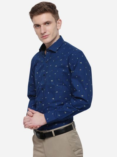 Blue & Black Striped Slim Fit Party Wear Shirt | Greenfibre
