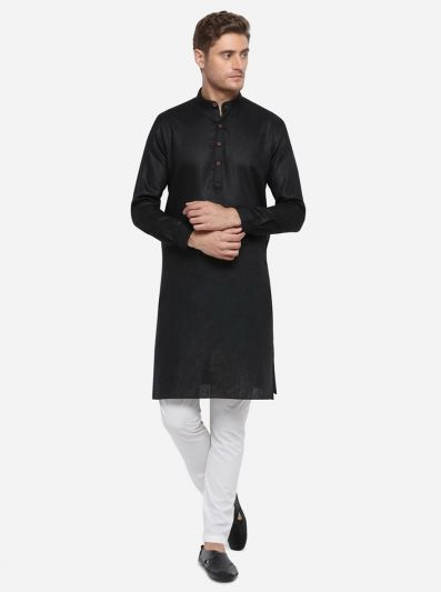 Black Self Design Regular Fit Modi Kurta | JadeBlue