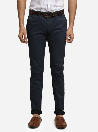 Navy Blue Solid Super Slim Fit Casual Trouser | Greenfibre
