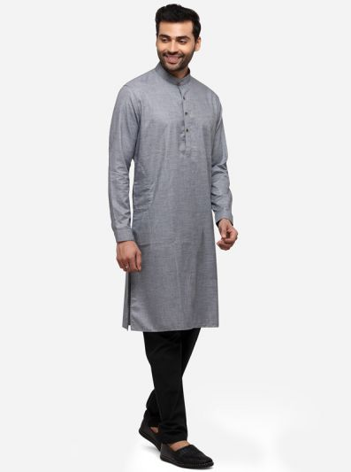 Grey Self Textured Regular Fit Modi Kurta | JadeBlue