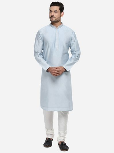 Light Grey Kurta Set with Light Grey Bandhgala Jacket | Azania