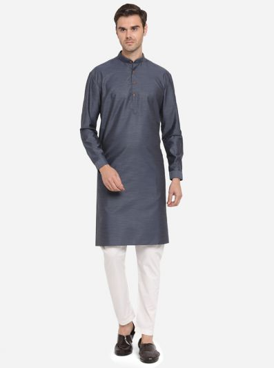 Blulish Grey  Self Design Regular Fit Modi Kurta | JadeBlue