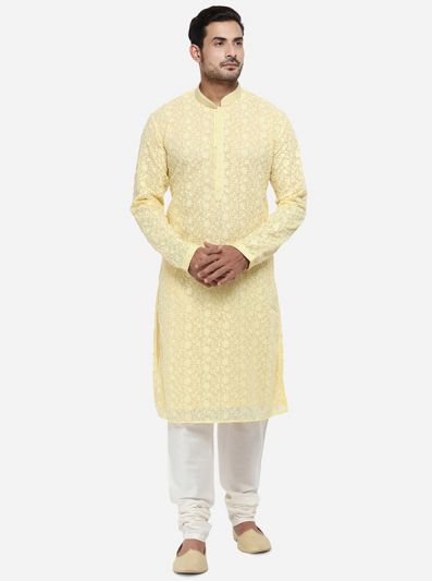 Lemon Yellow Kurta Set | Azania