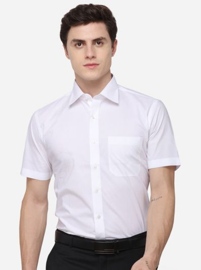 White Regular Fit Solid Formal Shirt | Greenfibre